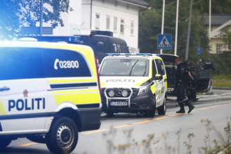 The scene of a shooting inside the al-Noor Islamic centre mosque in Baerum, near Oslo on Saturday.