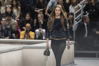 Model Gigi Hadid first approached the runway intruder.