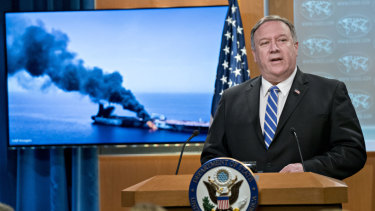 Mike Pompeo, US secretary of state, speaks during a press briefing at the State Department in Washington, DC.