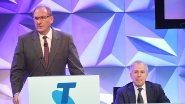 Telstra chairman John Mullen and CO Andrew Penn at the company's AGM in Sydney.