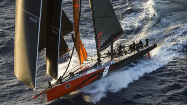Full sail: Comanche races south early on day two of the Sydney to Hobart.