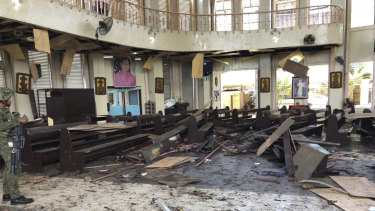 Inside a Roman Catholic cathedral in Jolo, the capital of Sulu province in the southern Philippines, after two bombs exploded on January 24.