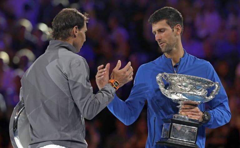 Rafael Nadal congratulates Novak Djokovic on his own
