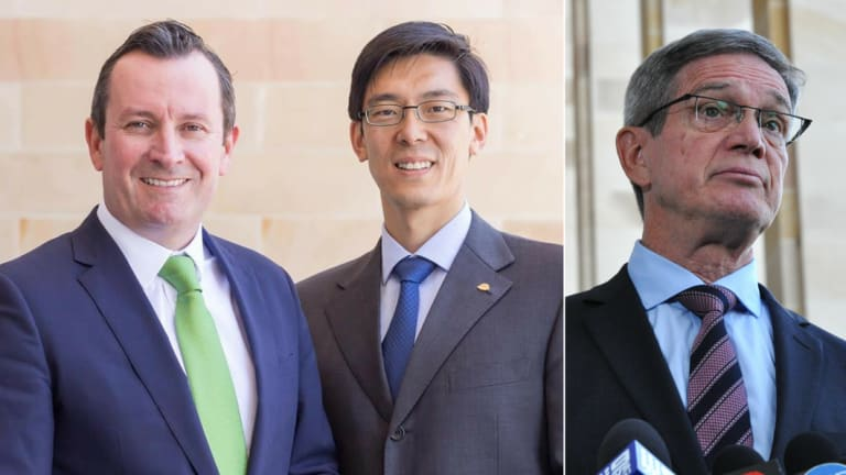 Premier Mark McGowan and Labor MLC Pierre Yang, who quit two pro-Beijing organisations yesterday after failing to declare his relationship with them. Opposition Leader Mike Nahan wrote a message of support for one of the organisations when he was multicultural minister.