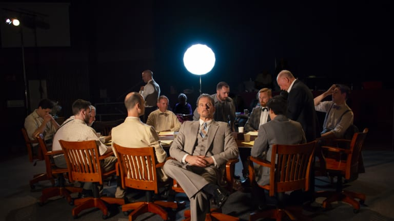 <i>12 Angry Men</i>: from left, Alex Hoskisson, Pat Gallagher, Glenn Brighenti, Martin Searles, Isaac Reilly, Geoffrey Borny, Rob de Fries, Colin Giles, Duncan Driver, Will Huang, Tony Turner, Cole Hilder.