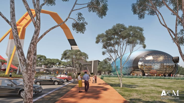 An artist's impressions from the National Museum of Australia's Master Plan, with the Theatre of Things displayed on the right.