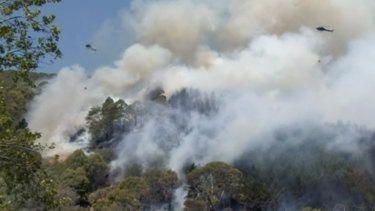 Helicopters drop water on a moving bushfire in Wakefield, New Zealand.
