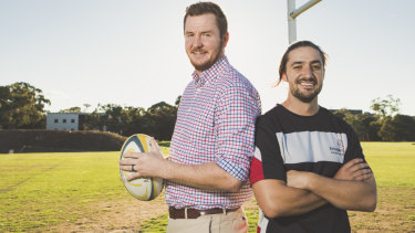 Assistant coach of Australian Schools Barbarians rugby union team Ben McGee, with head coach Dan Hawke.