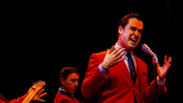 Ryan Gonzales as Frankie Valli at Wednesday's Jersey Boys media call.