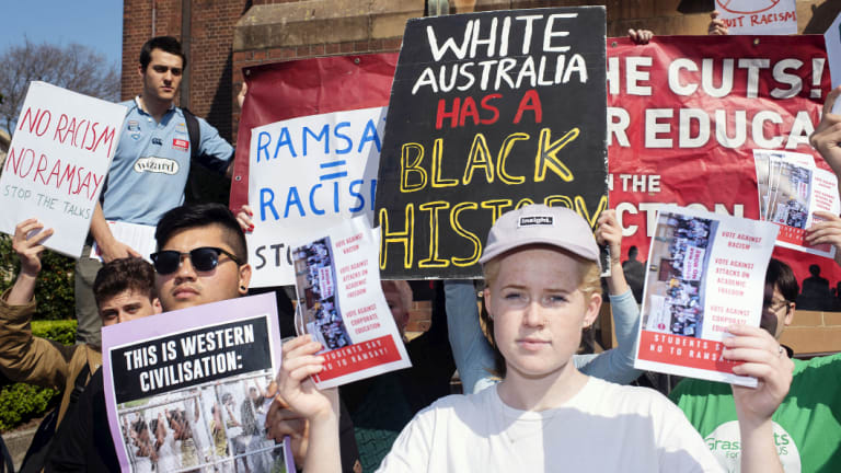 Students protesting against the Ramsay Centre at the University of Sydney.