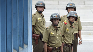 North Korean soldiers at the truce village of Panmunjom in the Demilitarized Zone.