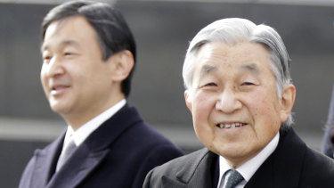 Japan's Emperor Akihito, right, and Crown Prince Naruhito, left, in 2016.