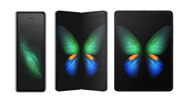 The Samsung Galaxy fold can open to be used as a small tablet, or stay closed and act as a skinny phone.