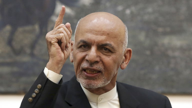 Afghan President Ashraf Ghani speaks during a press conference at the presidential palace in Kabul, Afghanistan. Talks next month in Moscow to discuss a peaceful end to 17-years of war in Afghanistan that includes a place at the table for the Taliban has ruffled feathers in Washington and Kabul.
