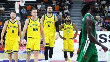 Bogut and his Australian teammates had a slow start against Senegal.