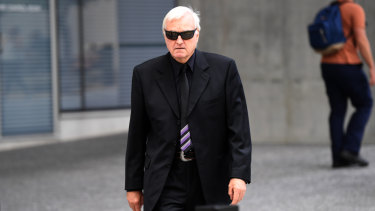 Theresa Dalton's former husband Malcolm Stewart leaves the Supreme Court in Brisbane on Tuesday.