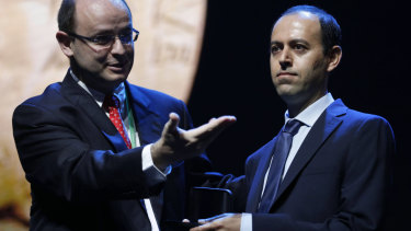 University of Cambridge's professor Caucher Birkar, right, as he receives the Fields medal during the awarding ceremony, in Rio de Janeiro, on Wednesday.