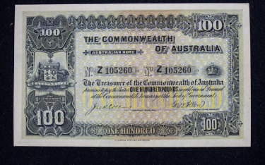 A rare £100 note, issued in 1914, on display at Noble Numismatics.
