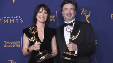 Deborah Riley (left) with Paul Ghirardani in 2018; both are nominated again for Game of Thrones.