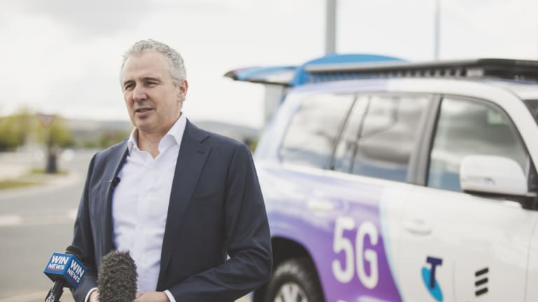 Telstra chief executive Andy Penn in Canberra on Wednesday after Telstra announced Ericsson as its 5G partner.