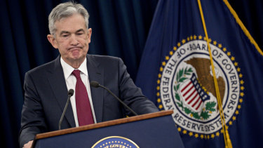 US Federal Reserve Board chairman Jerome Powell during the news conference in Washington that followed the Fed's decision to raise US interest rates on Wednesday.