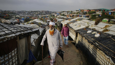 An elderly Rohingha refugee at a Bangladeshi camp.