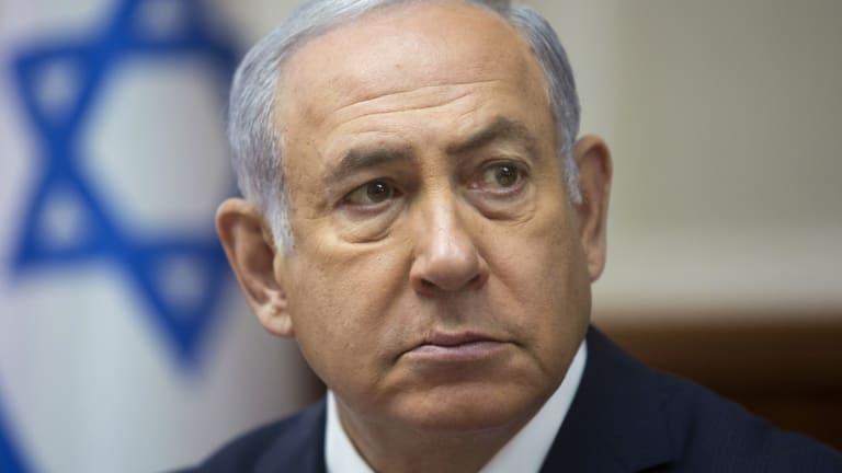 Israeli Prime Minister Benjamin Netanyahu attends a cabinet meeting in Jerusalem.