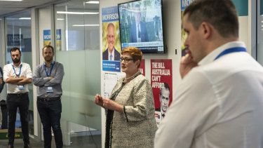 From left: Liberal campaign deputy directors Isaac Levido and Simon Berger, Liberal MP Marise Payne and campaign director Andrew Hirst.