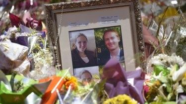 Memorial photographs of Katrina Dawson and Tori Johnson.