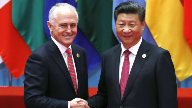 Tensions frayed: Malcolm Turnbull with China's President Xi Jinping.
