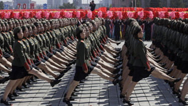 North Korean soldiers march past during a parade for the 70th anniversary of North Korea's founding day in Pyongyang, North Korea, on Sunday.