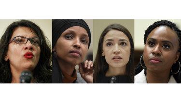 Representatives denounced by Trump. From left: Rashida Tlaib, Ilhan Omar, Alexandria Ocasio-Cortez and Ayanna Pressley.