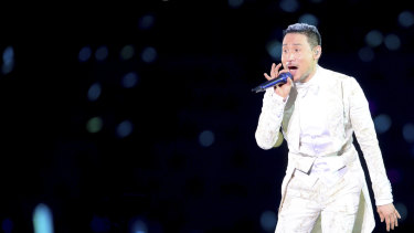 Hong Kong singer Jacky Cheung, pictured performing in Shenyang city in China's north-east, has had a song stripped from Apple Music in China.