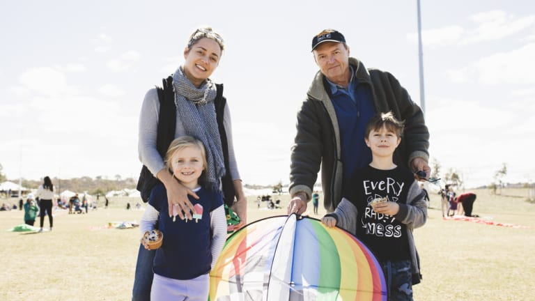 Amity Raymont (left) with her father, Will Raymont and children Lea Michel and Ashton Michel at Flying High on Saturday, with this year's event coinciding with Father's Day.