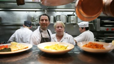 Giovanna Toppi during her days at the original Machiavelli with one of her chefs, Laurent Cambon.