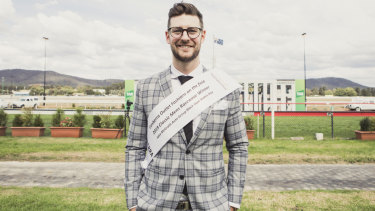 Men's Classic Racewear winner James McPhie at Black Opal Stakes Day on Sunday.