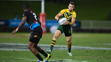 Clint Gutherson bagged a hat-trick for the PM's XIII in their 42-point win over Fiji in Suva.