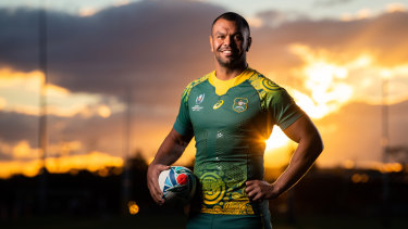 Kurtley Beale in Australia's away strip for the Rugby World Cup, featuring the popular Indigenous jersey design by Dennis Golding.