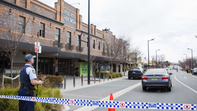 Queanbeyan main street where a man was firing shots at passing cars early on Saturday morning.