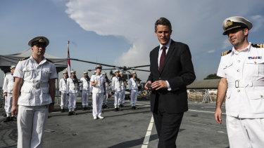 Britain's Secretary of State for Defense, Gavin Williamson, aboard HMS Sutherland.