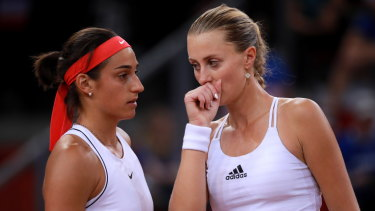 France's Caroline Garcia (left) and Kristina Mladenovic during their doubles clash against Romania.