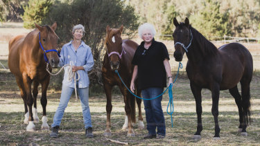 The ACT Equestrian Association is concerned that household delivery drones could threaten the future of the recreation in Canberra. From left, Secretary of the ACT Endurance Riders Association Mazine McArthur, and The ACT Equestrian Association president Christine Lawrence.