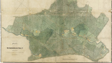 "The 1842 Windsor District map by surveyor J. Musgrave, containing a reference to ""Burial ground of the Blacks""."