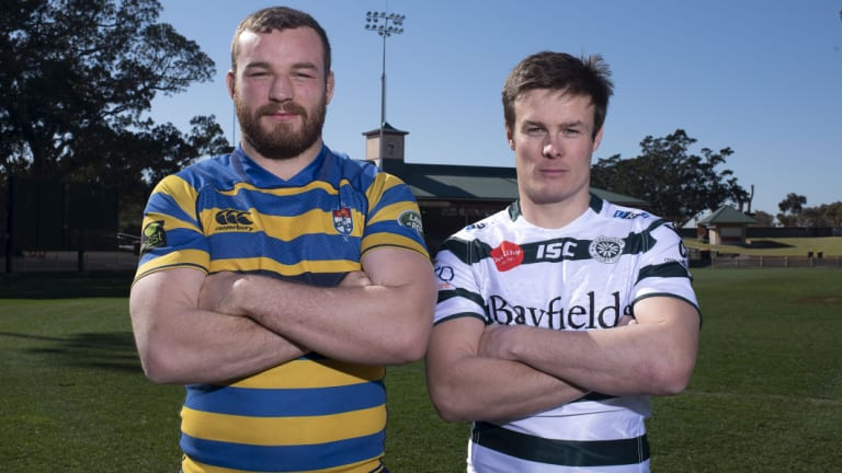Showdown: Sydney University skipper Rohan O'Regan and Warringah captain Hamish Angus pose at North Sydney Oval before the Shute shield grand final.