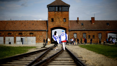 The railway tracks leading to the former Nazi death camp Auschwitz-Birkenau near Oswieciem in Poland.