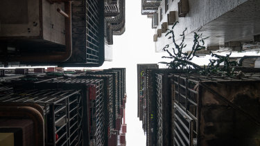 """Closely packed """"handshake buildings"""" in Shenzhen, China."""