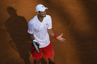 Novak Djokovic reacts during a semi-final match in Rome.
