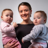 """Household labour still sits with me"": Lucy Fogarty with 15-month-old twins Poppy and Mia."
