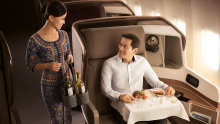 Singapore Airlines business class. It's claimed such passengers account for twice the carbon footprint of those in economy.
