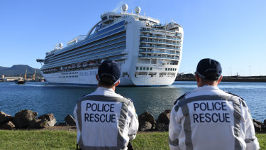 The troubled Ruby Princess docked at Port Kembla on Monday morning.